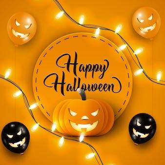 Banner de feliz dia das bruxas com balões de ar de halloween preto e laranja, luzes de guirlanda e abóbora em laranja