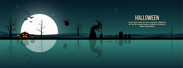 Banner de feliz dia das bruxas com bruxa assustadora sob o luar na noite assustadora
