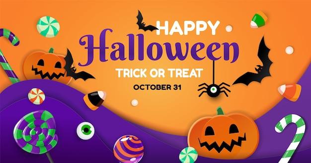 Banner de feliz dia das bruxas com doces, abóboras, morcegos e aranha.