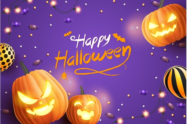 Banner de feliz dia das bruxas, com doces de halloween, guirlandas brilhantes, balão e abóboras de halloween em fundo roxo. ilustração 3d