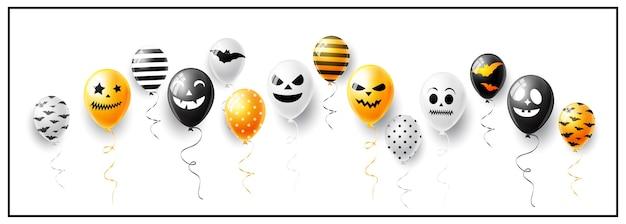 Banner de feliz dia das bruxas com fantasmas e balões de ar assustadores
