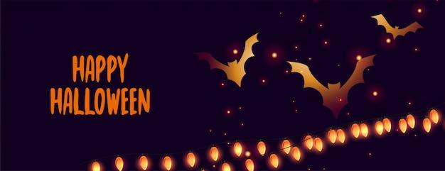 Banner de feliz dia das bruxas com morcegos brilhantes e luzes