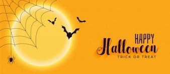 Banner de feliz dia das bruxas com teia de aranha e morcegos voando