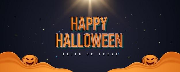 Banner de feliz dia das bruxas com texto 3d e abóboras sorridentes