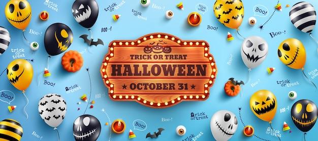 Banner de feliz dia das bruxas com texto de halloween em uma placa de madeira vintage e balões fantasmas de halloween