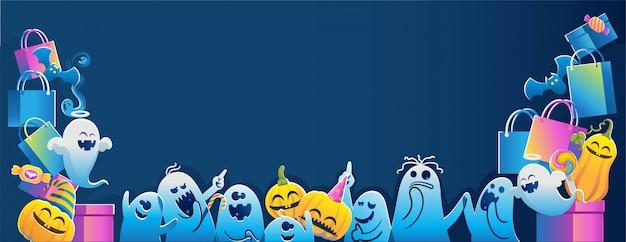Banner de feliz dia das bruxas. fundos de halloween.