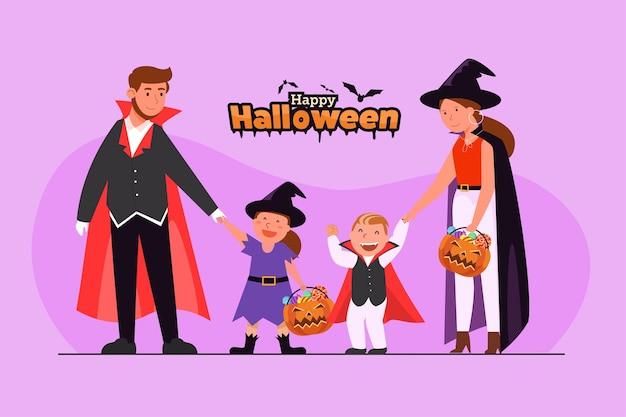 Banner de feliz dia das bruxas (gostosuras ou gostosuras) com personagem
