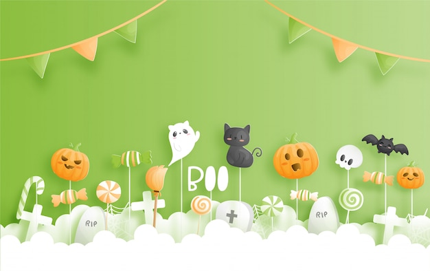 Banner de feliz dia das bruxas no estilo de corte de papel.