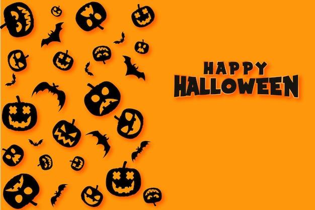 Banner de feliz dia das bruxas ou fundo de convite de festa com morcegos e abóboras com efeito de texto