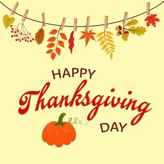 Banner de feliz dia de ação de graças com abóbora presentes de outono pendurados em uma corda presa com prendedor de roupa