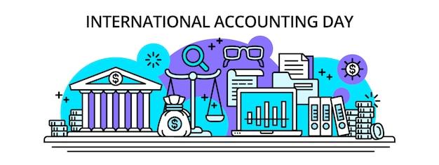 Banner de feliz dia de contabilidade internacional, estilo de estrutura de tópicos