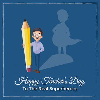 Banner de feliz dia do professor com o professor segurando o lápis