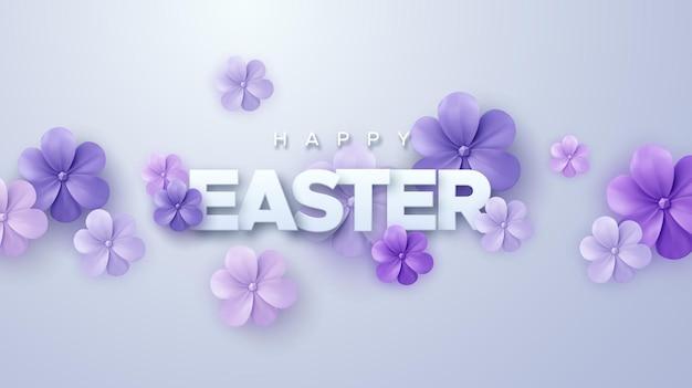 Banner de feliz feriado de páscoa com flores de papel