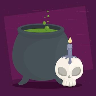 Banner de feliz halloween com bruxa caldeirão, caveira e vela