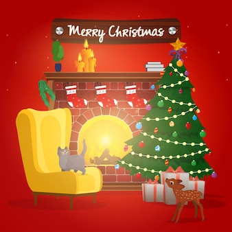 Banner de feliz natal. árvore de natal, lareira com fogueira. poltrona junto à lareira com um gato e uma árvore de natal. vetor de cartaz vermelho de ano novo.