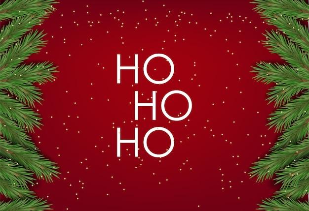 Banner de feliz natal, cartão ho ho ho, natal