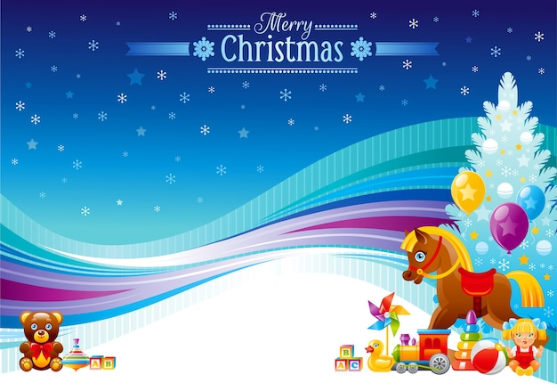 Banner de feliz natal com árvore de natal e brinquedos e presentes - cavalo de balanço, ursinho de pelúcia, trem, bola, boneca.