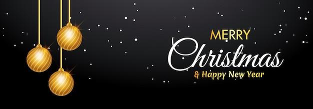 Banner de feliz natal com bola de natal