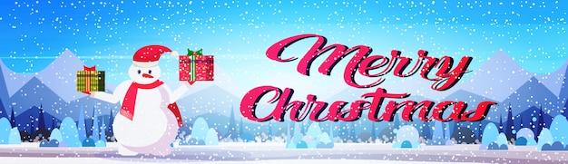 Banner de feliz natal com boneco de neve
