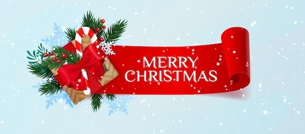 Banner de feliz natal com caixa de presente, bastão de abeto e doces. natal.