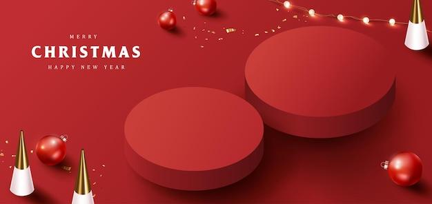 Banner de feliz natal com exibição de produto em formato cilíndrico e decoração festiva para o natal