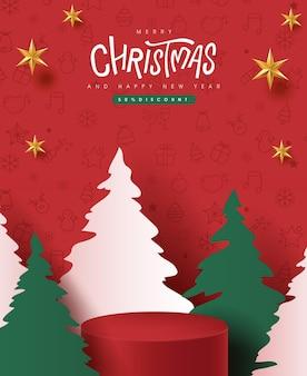 Banner de feliz natal com exibição de produto em formato cilíndrico e estilo de corte de papel de árvore de natal