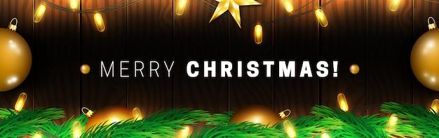 Banner de feliz natal com guirlanda de luzes brilhantes