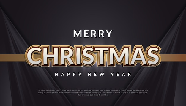 Banner de feliz natal com ouro de luxo 3d e texto branco em fundo preto