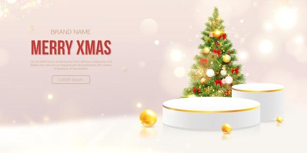 Banner de feliz natal com produto realista 3d ouro pódio