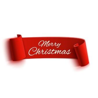 Banner de feliz natal de papel vermelho realista e curvado com detalhes