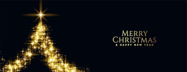 Banner de feliz natal e ano novo com árvore de brilho dourado