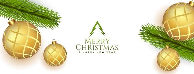Banner de feliz natal e ano novo com enfeites dourados