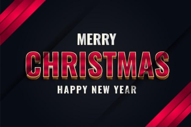 Banner de feliz natal e ano novo com texto elegante em fundo preto e vermelho