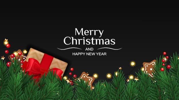Banner de feliz natal e feliz ano novo com caixa de presente, abeto e pão de mel.