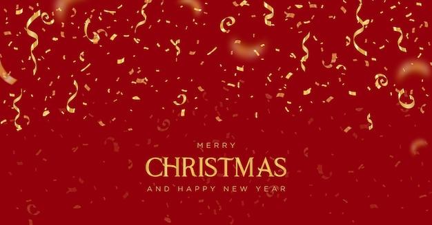 Banner de feliz natal e feliz ano novo com confete dourado