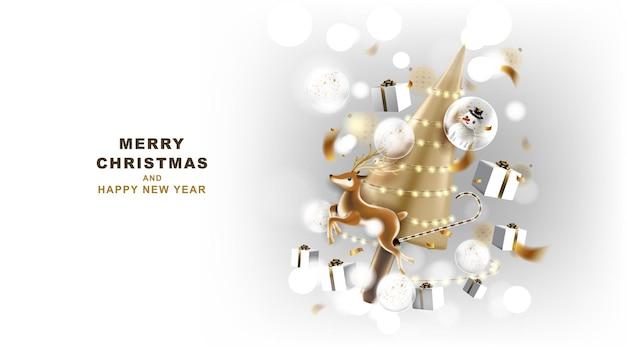 Banner de feliz natal e feliz ano novo com decoração para festival de natal