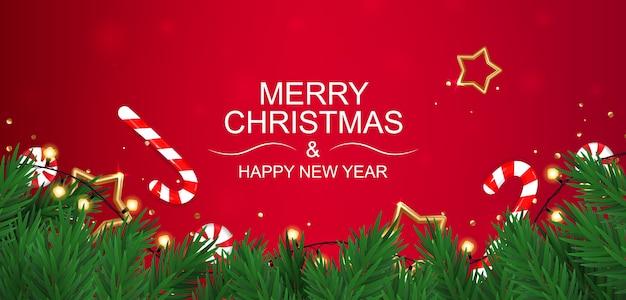 Banner de feliz natal e feliz ano novo com doces.