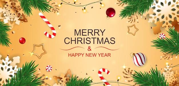 Banner de feliz natal e feliz ano novo com flocos de neve dourados e doces.