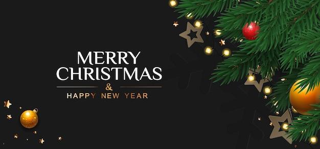 Banner de feliz natal e feliz ano novo com galhos de pinheiro e bolas de natal.