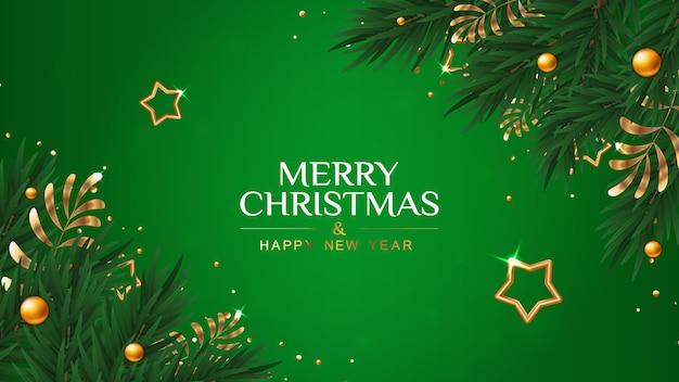 Banner de feliz natal e feliz ano novo com galhos de pinheiro e estrelas.