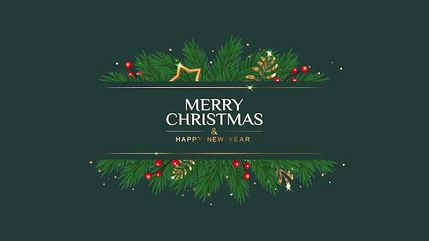 Banner de feliz natal e feliz ano novo com ramos de pinheiro