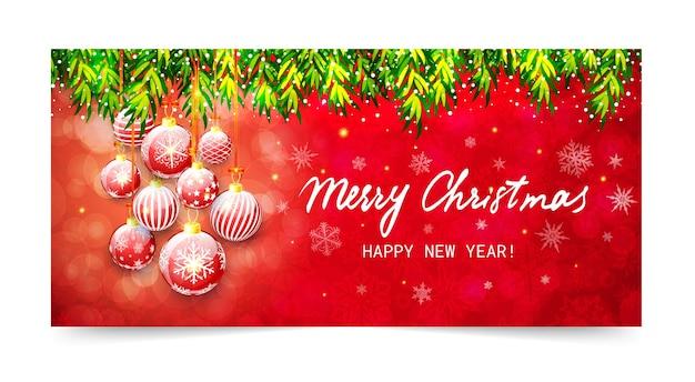 Banner de feliz natal e feliz ano novo. ilustração de férias com galhos de árvores de natal e bolas de natal em fundo vermelho