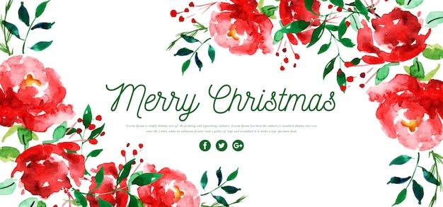 Banner de feliz natal floral aquarela