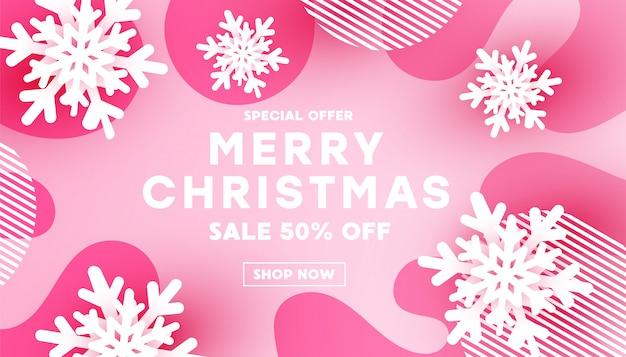 Banner de feliz natal minimalismo com decoração de forma de floco de neve branco