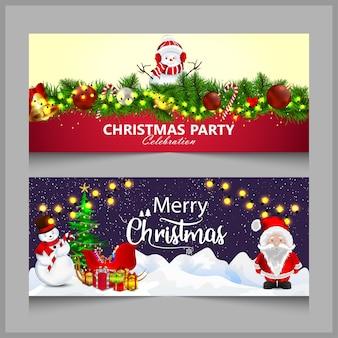 Banner de feliz natal ou hader em vermelho ou azul
