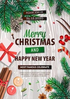 Banner de feliz natal, pôster da festa de natal