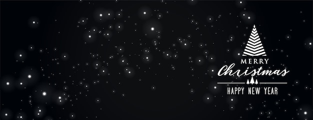 Banner de feliz natal preto com brilhos