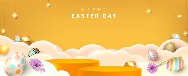 Banner de feliz páscoa com formato cilíndrico de exibição de produto e decoração festiva para o dia de páscoa.
