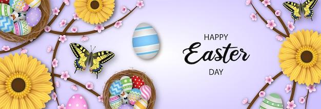 Banner de feliz páscoa com ovos coloridos, borboletas e flores