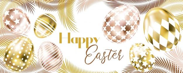 Banner de feliz páscoa com ovos de ouro rosa e palma